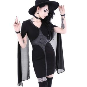 Restyle Gothic Cape Dress Witch Occult Blackcraft